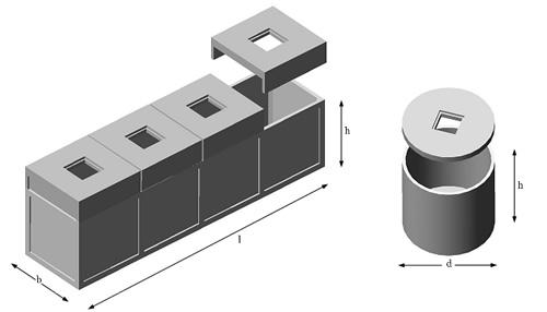 schema cisterne prefabbricate rettangolari e circolari